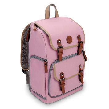 GOgroove Digital SLR Camera Backpack (Mid-Volume Pink) w/Tablet Compartment, Customizable Dividers for Accessory Storage, Tripod Holder and Weatherproof Rain Cover for Canon, Nikon, Olympus & more