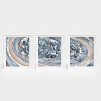 Watercolor Crystal Abstract Triptych Wall Art Print