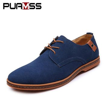 Brand Men Shoes England Trend Casual Shoes Male Suede Oxford Leather Dress Shoes Zapatillas Men Flats Plus Big Size Snakers Man