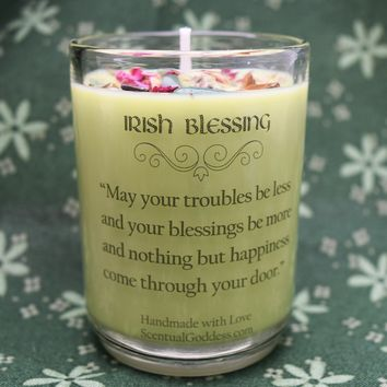 Irish Blessing Candle - Housewarming Gift with Celtic Crystals & Herbs