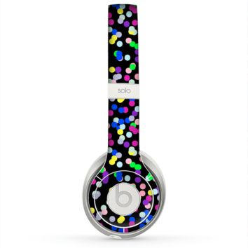 The Multicolored Polka with Black Background Skin for the Beats by Dre Solo 2 Headphones