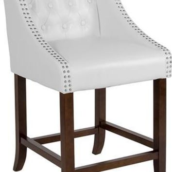 "Carmel Series 24"" High Transitional Tufted Walnut Counter Height Stool with Accent Nail Trim in White Leather"