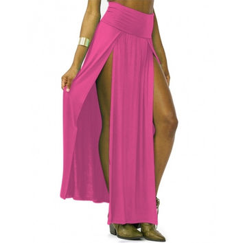 New Fashion Trends High Waisted Double Slits Sexy Women Maxi Skirt