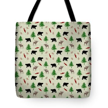 "Moose and Bear Pattern Tote Bag 18"" x 18"""