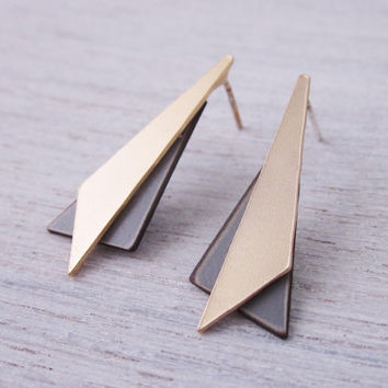 Formica Triangle Post Earrings by shlomitofir on Etsy