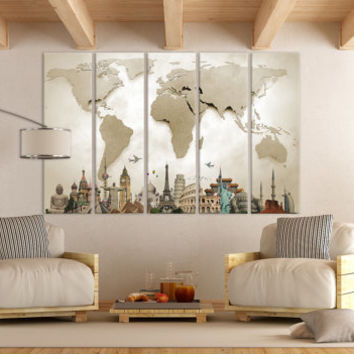 LARGE World Map Canvas Print Wall Art / 1,3 or 5 Panel Art Extra Large World Map on Canvas Wall Art / Living Room, Home & Office Decoration