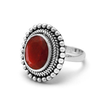 "Faceted Oval ""Ruby"" Ring With Oxidized Sterling Silver"
