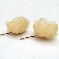 Bobby Pins with   Champagne/Cream Organza Roses 2 pcs by nezoshop