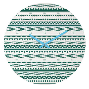 Allyson Johnson Teal Aztec Round Clock