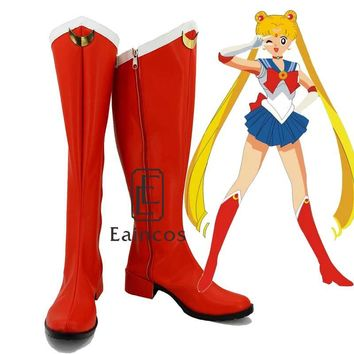 New Anime Sailor Moon Girls Red Cosplay Boots Party Shoes