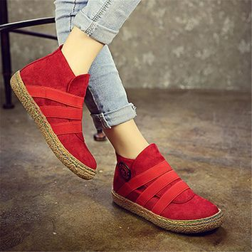 Slip On Ankle Women Boots Pure Color England Style Flat Heel Casual Booties Spring Autumn Soft Sole Shoes Elastic