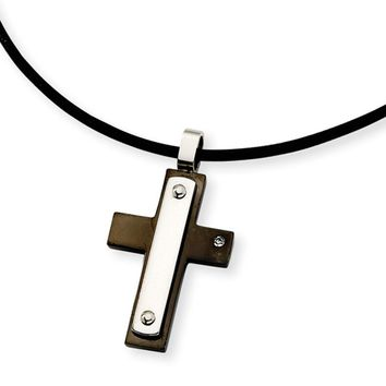 Men's Stainless Steel and Black Cross Necklace with Cubic Zirconia