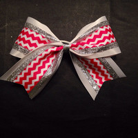 3 inch cheerleader cheer bow hot pink chevron