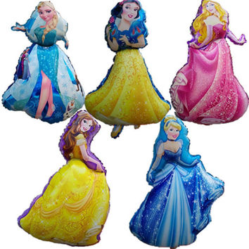 Cartoon Princess Foil Air Balloons Esa Snow White Cinderlla Belle Princess Balloons Holiday Gifts Birthday party Decorations