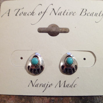 Authentic Navajo,Native American,Southwestern sterling silver sleeping beauty turquoise bear paw claw shadow box stud earrings