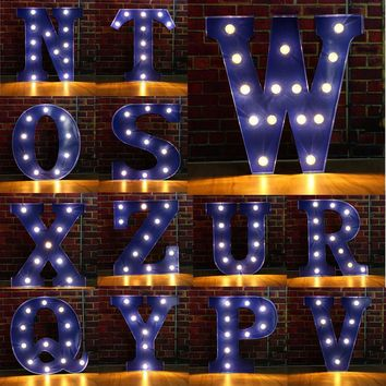 Alphabet Letter LED Light Bulbs Lamp Light Up Decoration Symbol WALL Decoration Wedding Party Window Display Light
