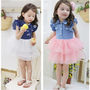Christmas Baby Girls Kids Princess Denim Jeans Tulle Skirt RUFFLES Layered Dress