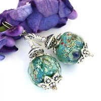 Water Lilies Impressionist Lampwork Earrings, Monet Pewter Sterling Handmade Fashion Jewelry
