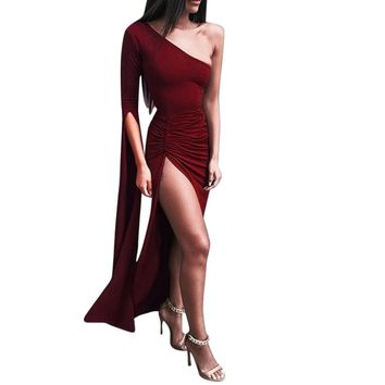 2018 New Spring Bandage Long Dress Women Celebrity Sleeveless One-Shoulder Sexy Night Out Party Dress Bodycon Slim Vestidos EY11