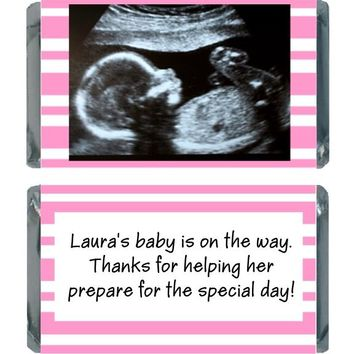 18 Add Your Sonogram Baby Shower Miniature Chocolate Bar Wrappers Pink