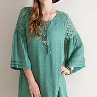 Lace Shoulder Baby Doll Dress - Sage