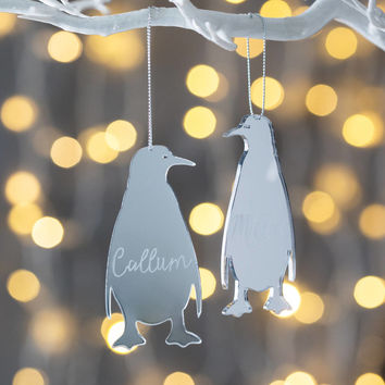 personalised mirrored penguin decoration by twenty-seven | notonthehighstreet.com