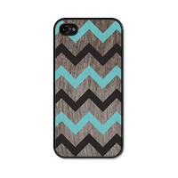 Chevron iPhone 4 Case - Plastic iPhone 4 Cover -  Wood iPhone 4 Skin - Turquoise Blue Black and Brown Woodgrain Cell Phone