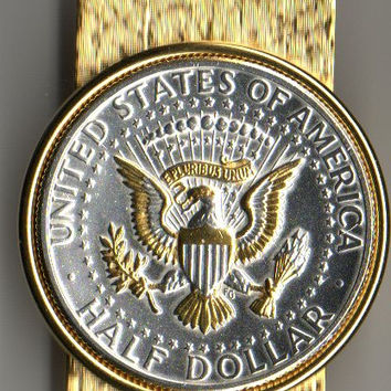 2-Toned Gold & Silver Kennedy  half dollar (Eagle) - (Hinged) Money clips