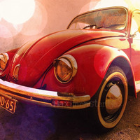 VW Bug Volkswagen Beetle Photo  Red VW Car  Fine by Maximonstertje