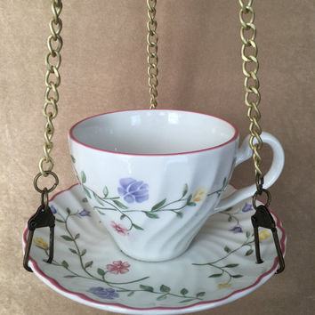 Bird Feeder, Hanging Bird feeder, Teacup Feeder, Johnson Brothers, Summer Chinz, Handcrafted Vintage, Upcycled, Bird Lover Housewarming Gift