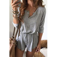 Pure Color Scoop Long Sleeves Short Loose Jumpsuit
