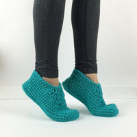 Crochet Teal Slippers, Knitted Slippers, Crochet House Shoes, Ladies Ankle Booties, Simple Girls Slippers, Plain Crochet Granny Slippers