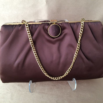 Harry Levine Clutch, Evening Bag, Brown Satin, Vintage 1960s Purse, Gold Trim, Button Closure,  Chic Party Purse, Gold Chain Handle, Elegant