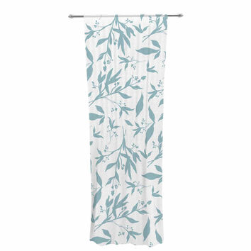 "Zara Martina Mansen ""Leafy Silhouettes"" White Blue Painting Decorative Sheer Curtain"