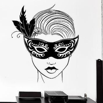 Wall Decal Carnival Mask Masquerade Sexy Hot Girl Sexy Vinyl Decal Unique Gift (z3147)
