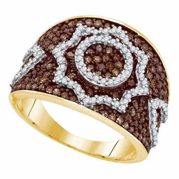 10kt Yellow Gold Women's Round Brown Color Enhanced Diamond Starburst Fashion Ring 1.00 Cttw - FREE Shipping (US/CAN)