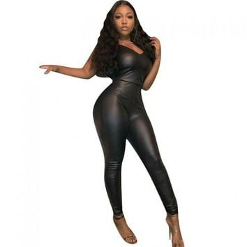 Skinny Black PU Jumpsuit
