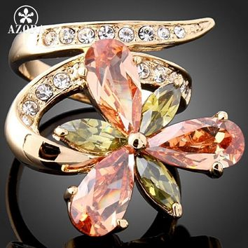 AZORA Attractive Rose Gold Color Mutilcolour Flower Stellux Austrian Crystal Ring YR78