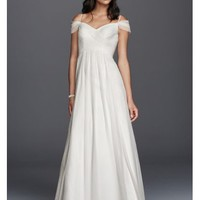 Tulle A-line Wedding Dress with Swag Sleeves - Davids Bridal
