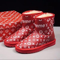Sale Louis vuitton LV x Supreme x UGG Customise Red White Print Wool Mid Boost