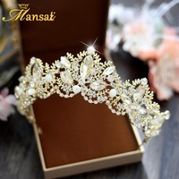 Gorgeous Handmade Crystal Beads Tiara Bridal Rhinestone Gold Tiara Pearl Wedding Hairwear Vintage Brides Hair Accessories HG356