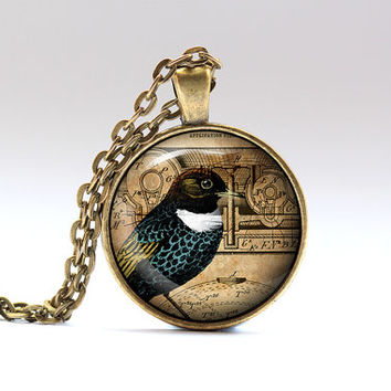 Animal necklace Steampunk jewelry Bird pendant SNW21