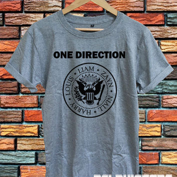 one direction shirt 1D ramones logo t-shirt directioner tshirt sport grey printed unisex size  (DL-52)