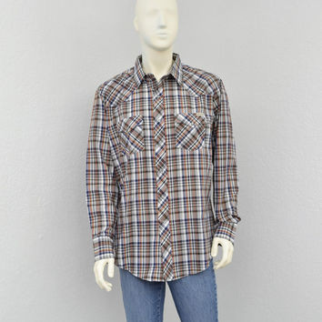 Vintage 70s Plaid Western Shirt, Pearl Snap Shirt, Mens Cowboy Shirt, Long Sleeve Shirt, Country Western Wear Size XL