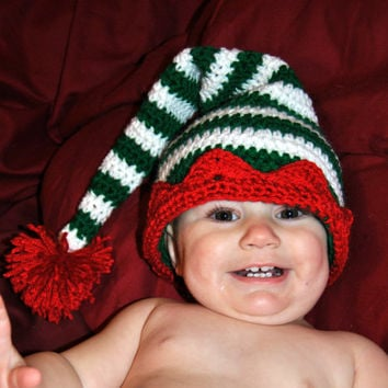 Christmas Crochet Elf Hat, Striped Santa Crochet Hat, Gnome Hat, Christmas Photo Prop, Newborn, Baby, Toddler, Kids Winter Hat, Boys, Girls