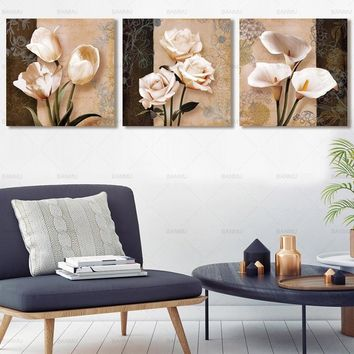 Poster Canvas Painting 3 Piece Flower Modular Picture On The Wall Decorative Wall Pictures For Corridor  No Frame Home Decor art