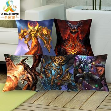 New Hearthstone Cushions Linen Cushion Cover Fashion Game Legendary Card Throw Pillow For Living Room Bed Room 1 Pcs 43*43cm