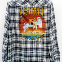 LED ZEPPELIN  Reworked Vintage Flannel Button Down Shirt