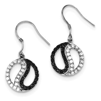 Sterling Silver Black & White CZ Yin Yang Dangle Earrings QE7341