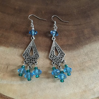 Chandelier Earrings, Light Blue and Turquoise Silver Earrings, Dangle Earrings, Glass Metal Earrings, Womens Earrings, Bohemian Earrings